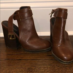Brown Strapped Wedge Booties